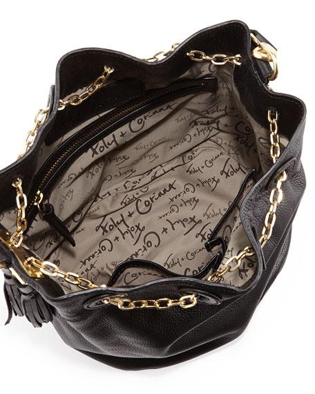 Convertible Sling Drawstring Bucket Bag, Black