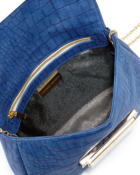 Iris Crocodile-Embossed Leather Clutch Bag, Cobalt