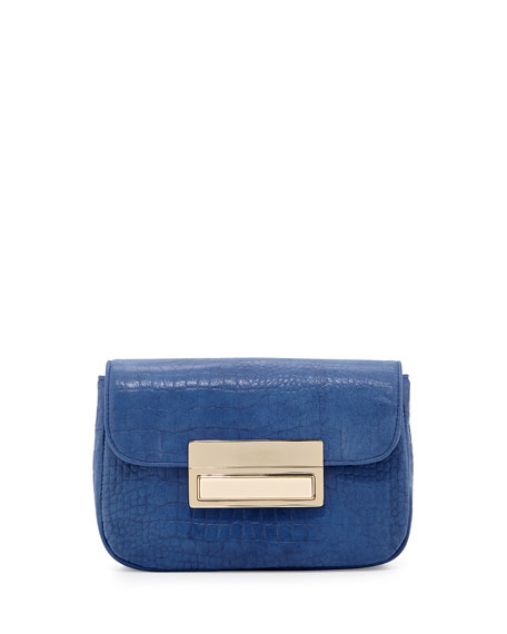 Lauren Merkin Iris Crocodile-Embossed Leather Clutch Bag, Cobalt