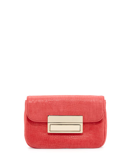 Iris Snake-Skin Embossed Leather Clutch Bag, Coral