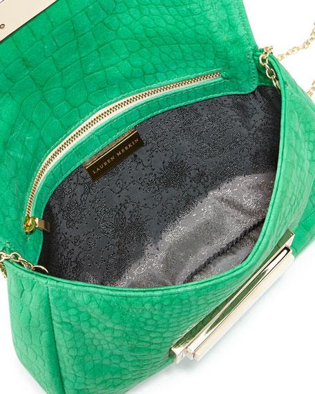 Iris Snake-Skin Embossed Leather Clutch Bag, Kelly