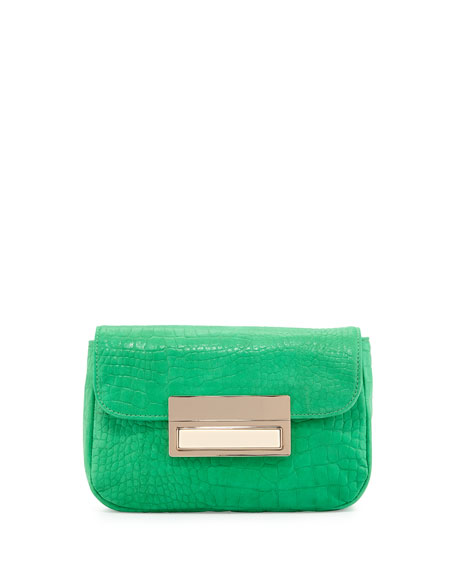 Lauren Merkin Iris Snake-Skin Embossed Leather Clutch Bag,