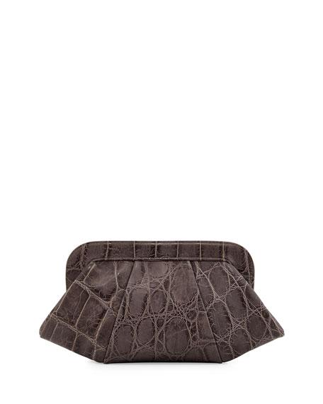 Tatum Hinge Croc-Embossed Calfskin Clutch Bag, Gray