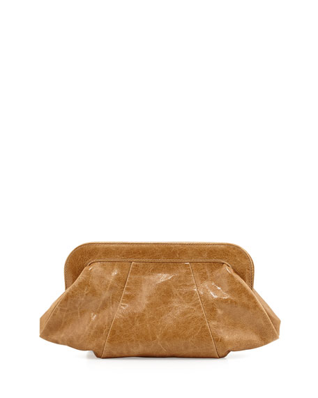 Tatum Hinge Calfskin Clutch Bag, Camel
