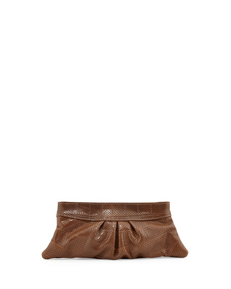 Eve Snap Perforated Croco Clutch Bag, Taupe