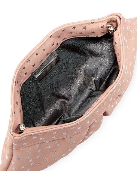 Eve Snap Metallic-Star Lambskin Clutch Bag, Pale Gold