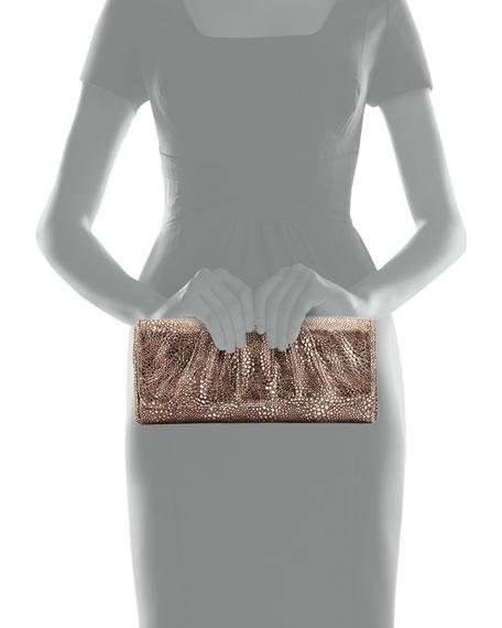 Caroline Metallic Snake-Embossed Clutch Bag, Pewter