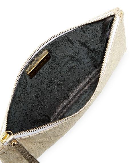 Medium Zip-Top Pearlized Linen Check Clutch Bag, Platinum