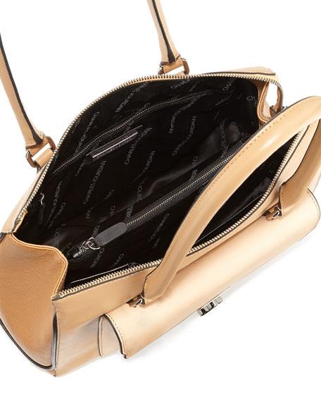 Kacey Mixed-Texture Shoulder Bag, Natural
