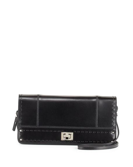 Kadie Turn-Lock Clutch Crossbody Bag, Black