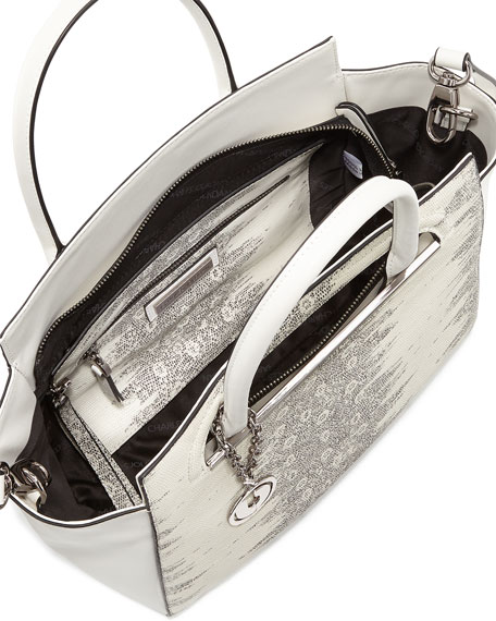Karis Snake-Embossed Satchel Bag, White