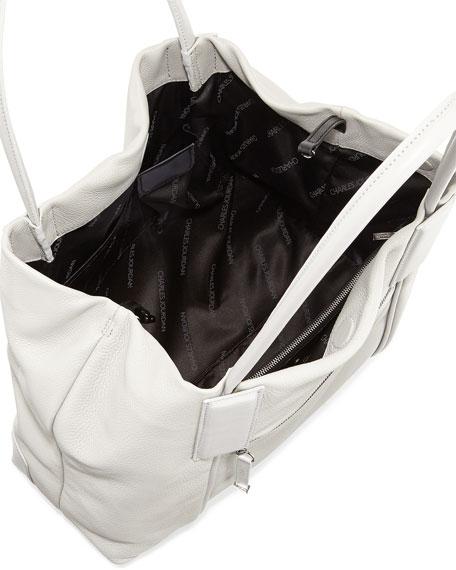 Katen Pebbled Tassel Hobo Bag, Gray