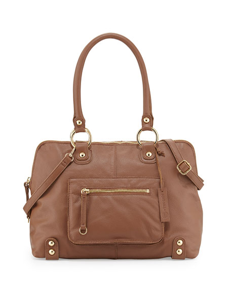Linea Pelle Dylan Front-Pocket Leather Duffel Bag, Coffee