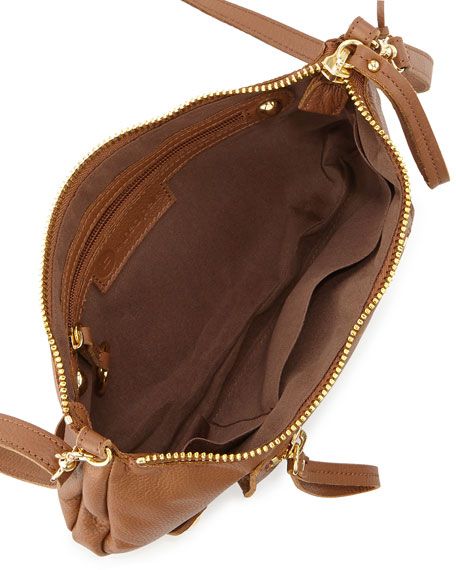 Dylan Zip Leather Crossbody Bag, Coffee Bean