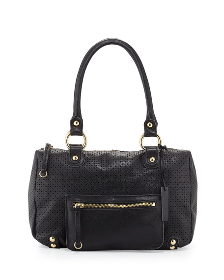 Linea Pelle Dylan Perforated Leather Duffel Tote, Black