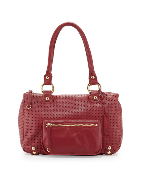 Linea Pelle Dylan Perforated Leather Duffel Tote, Red
