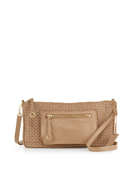 Dylan Perforated Leather Crossbody Bag, Nougat
