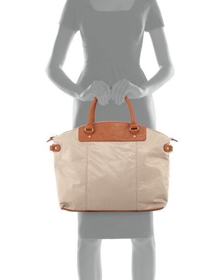 Locklyn Nylon Contrast Tote Bag, Clay