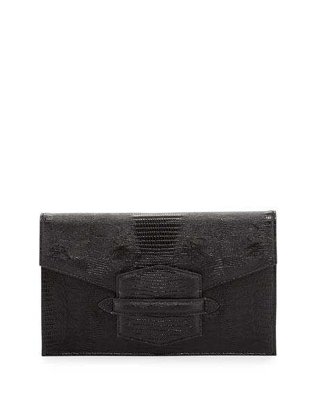 Lovely 2 Lizard-Embossed Envelope Clutch, Black