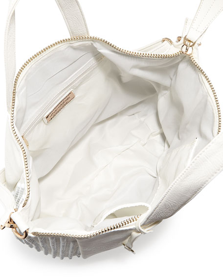 Angie Tonal Studded Tote Bag, White