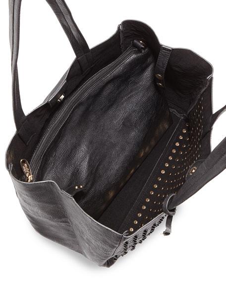 Olivia Tonal Studded Tote Bag, Black