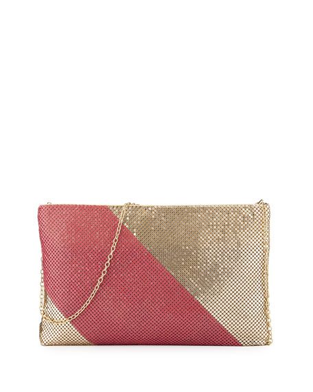Claire Two-Tone Metal Mesh Clutch, Gold/Fuchsia