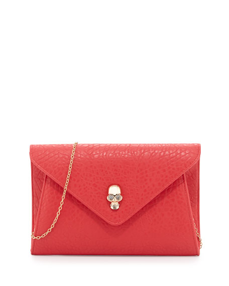 Vixon Crystal Skull Envelope Clutch, Mulberry