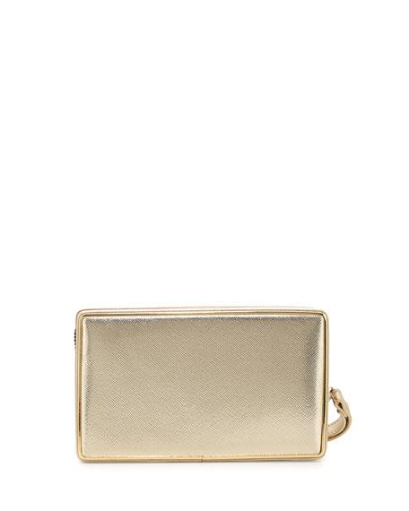 Dandy Mixed-Media Clutch Bag, Gold/Beige