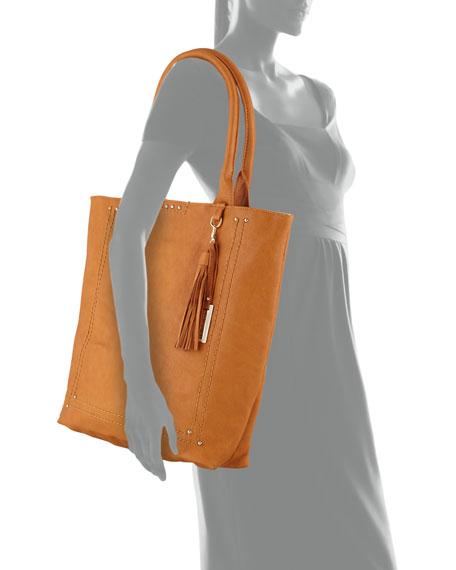 Bondi Topstitched Studded Tote Bag, Tan