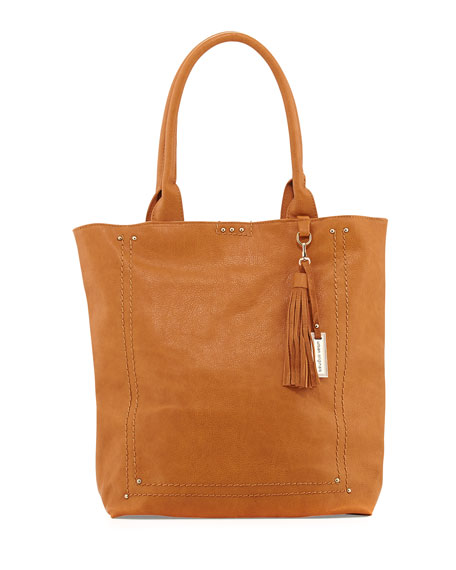Bondi Topstitched Studded Tote Bag, Tan