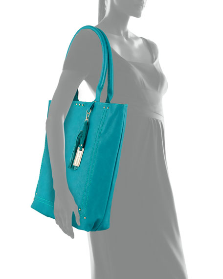 Bondi Topstitched Studded Tote Bag, Jade