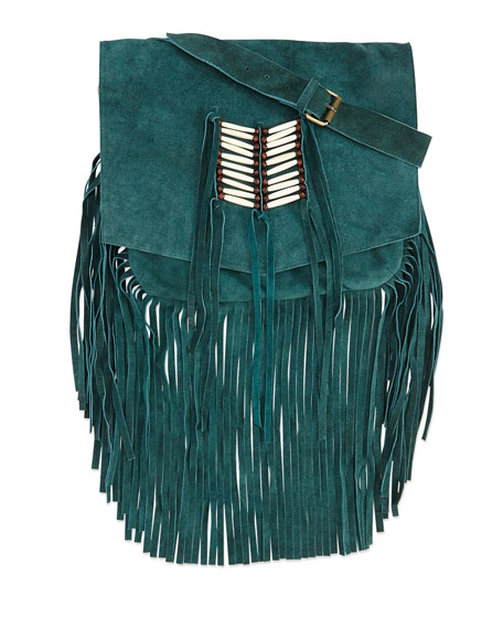 Maria Beaded & Fringed Crossbody Bag, Turquoise