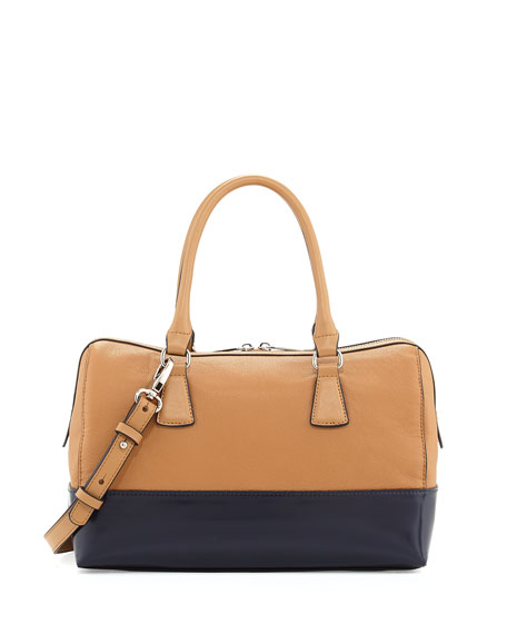 Charles Jourdan Dara Colorblocked Leather Satchel Bag, Tan/Black