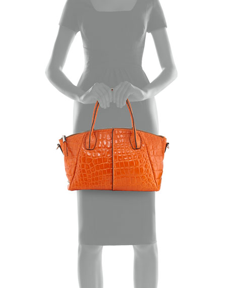 Della Croc-Embossed Leather Tote, Orange