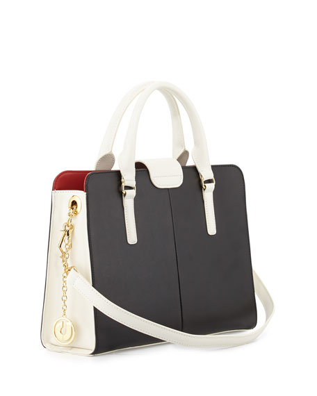 June Colorblock Leather Tote Bag, Black/White