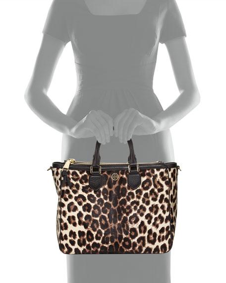 Robinson Calf Hair Square Tote Bag, Snow Leopard