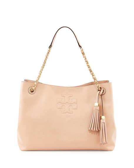 Tory Burch Thea Patent Chain-Strap Shoulder Bag, Light Oak