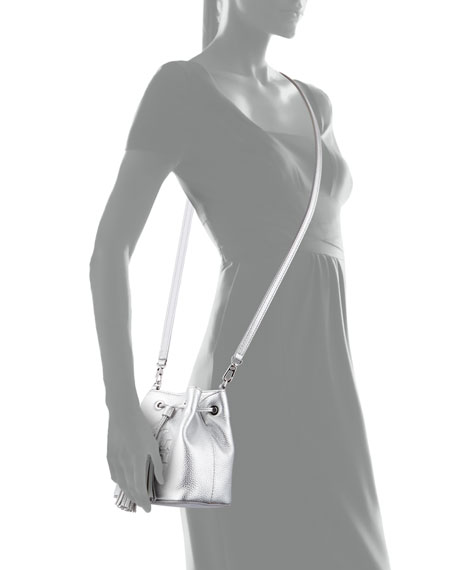 Thea Mini Crossbody Bucket Bag, Silver