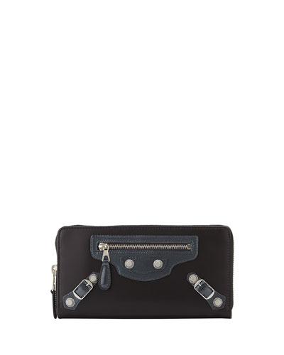 Balenciaga Calfskin Giant Zip Wallet, Gray
