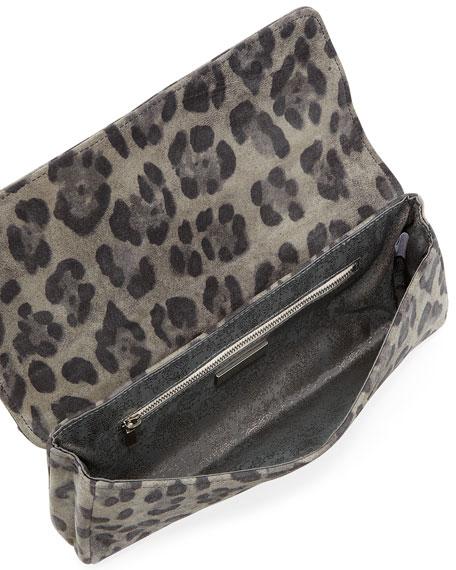 Caroline Leopard-Print Fold-Over Clutch, Gray