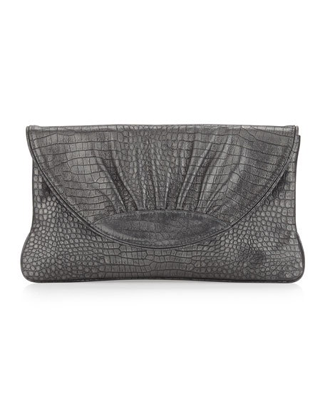 Ava Shimmer Crocodile Embossed Clutch, Gray/Silver