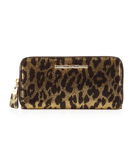 Zip Continental Wallet, Gold Cheetah