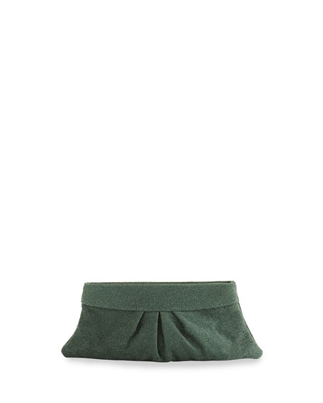 Eve Iridescent Textured Snap Clutch, Forest