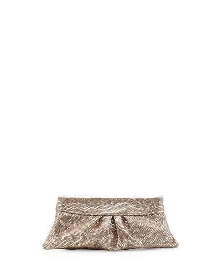 Eve Snap Metallic Lizard Clutch Bag, Pale Gold