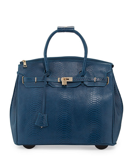 Ainsley Snake-Embossed Rolling Bag, Ocean