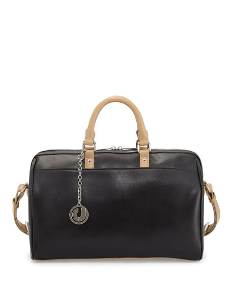 Charles Jourdan Dalton Two-Tone Leather Satchel Bag,