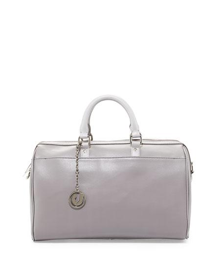 Charles Jourdan Dalton Smooth Leather Satchel Bag, Gray