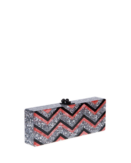 Flavia Chevron Confetti Clutch Bag, Multicolor