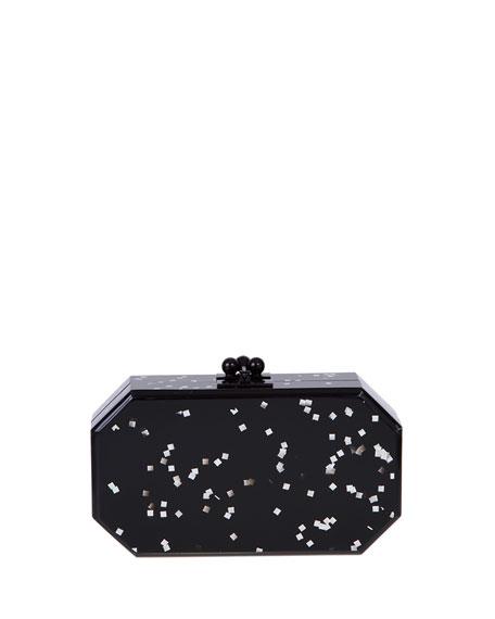 Fiona Confetti Acrylic Clutch Bag, Black