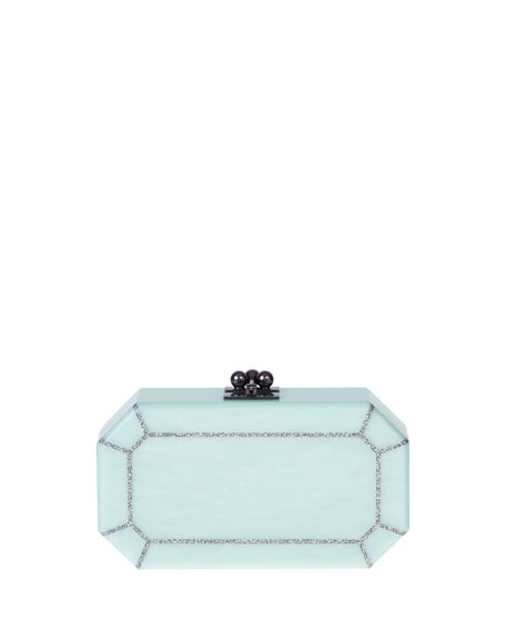 Fiona Faceted Acrylic Clutch Bag, Mint